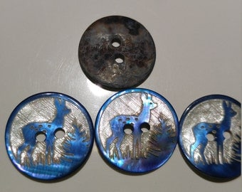 Hand Carved Mother of Pearl, Deer Buttons