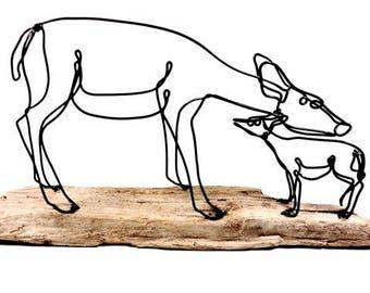 Doe and Fawn Wire Sculpture, Deer Sculpture, Wildlife Art, Minimal Sculpture, Wire Folk Art, 528068457