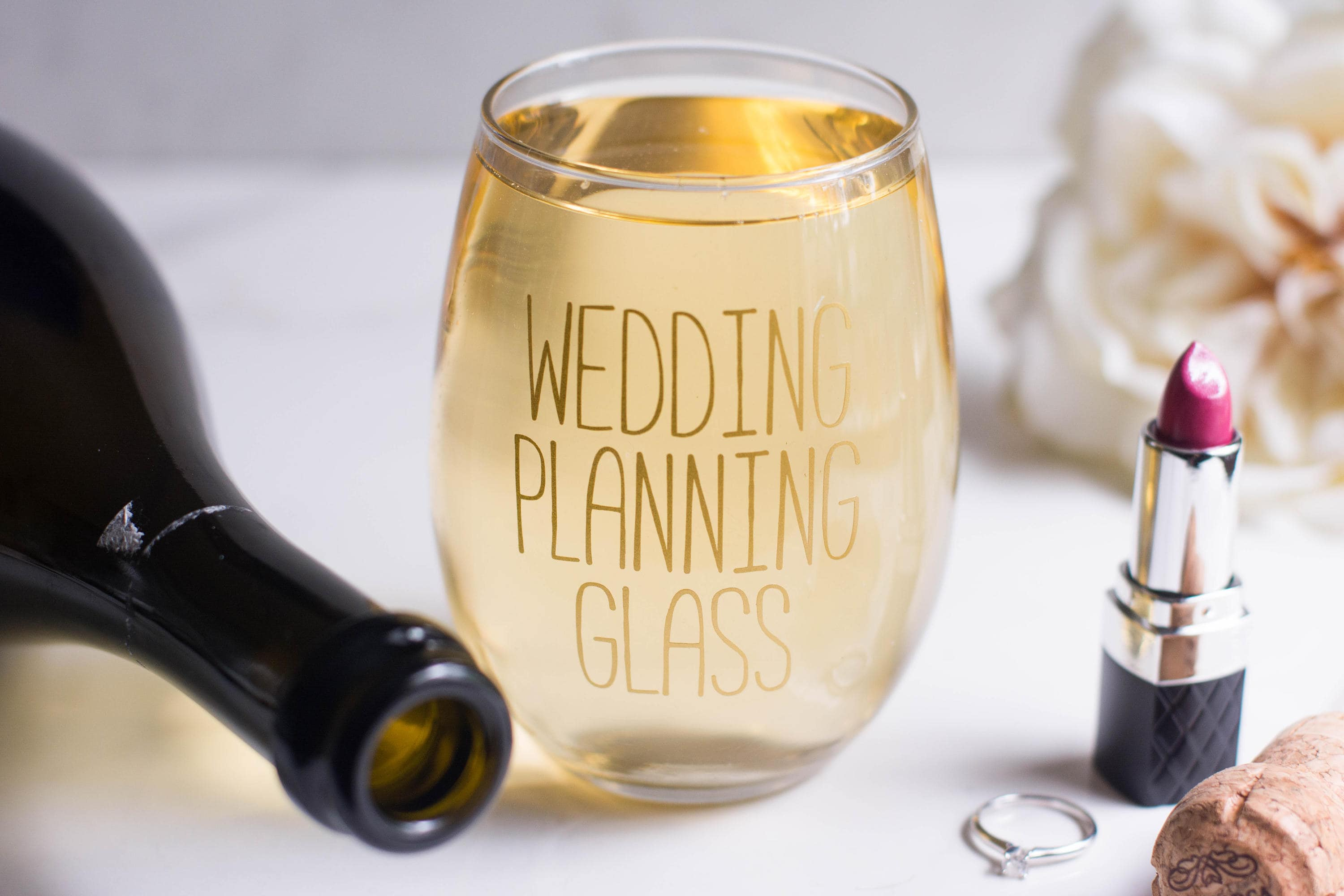 Gifts For Wedding Planning: Wedding Planning Wine Glass Stemless Wine Glass Bride Gift