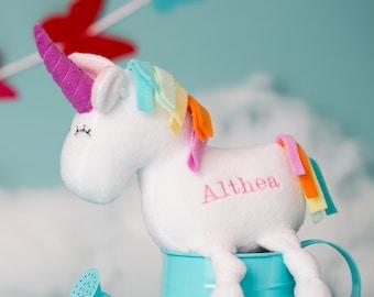 Plush Unicorn, Unicorn plush toy,  personalized unicorn plush, soft stuffed unicorn, stuffed unicorn, personalized plush gift for kids