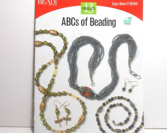 ABCs Of Beading, Jewelry Booklet, How to Bead, Beading Projects, Paperback Booklet, Earrings, Necklace, Bracelet, Ring