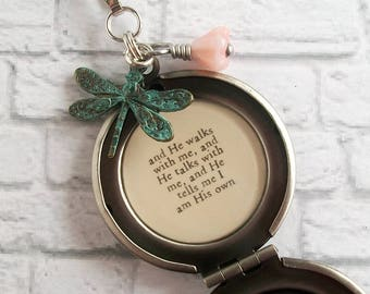In the Garden Hymn Quote Locket Necklace Christian Jewelry Floral Dragonfly Pendant and He Walks With Me and He Talks With Me