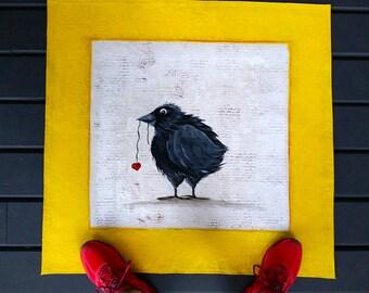 Raven Heart- Floor Cloth- Floor Covering- Floor Art