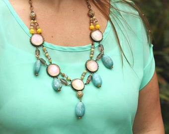 Large Bold Dreamy Pastel Statement Necklace