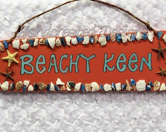 Recycled Fan Blade Wall Sign, Repurposed Beachy Keen Wall Hanging, Upcycled Wall Decor, Handmade, Wood Sign, Seashell Star Fish Accent