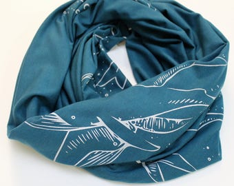 Whale Pod Print Infinity Scarf Teal Blue Bamboo Cotton