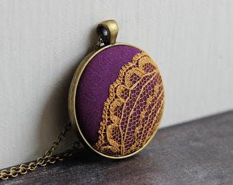 Purple and Yellow Necklace, Boho Jewelry, Mustard Lace Pendant, Unique Gift, Funky, Eclectic