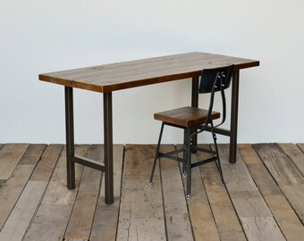 Rustic reclaimed wood desk with modern square steel legs in choice of size, thickness and finish