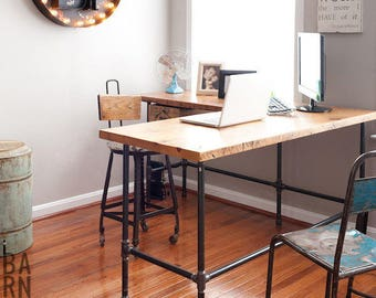 L shape reclaimed wood desk with iron pipe legs in choice of size, height, wood thickness and finish