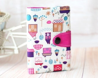 Fuchsia  Passport Cover, Little Houses Basic Passport Sleeve, Sleek Passport Case, Passport Credit Card Holder, Mini Passport Holder,