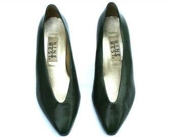Vintage Nine West Dark Green Soft Leather Classic Dress Pumps Heels Shoes Sz 7.5