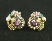 Beautiful Rare Vintage Miriam Haskell Earrings, Glass Beads, Faux Fire Opals, Rhinestones, Faux Pearls, Gold Tone Filigree, Signed.