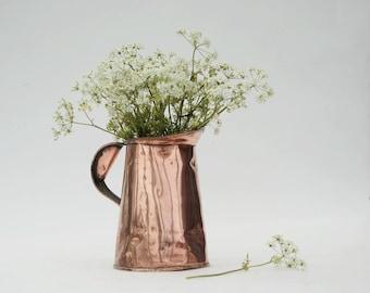 Copper pitcher, Vintage copper flower pot,  Rustic kitchen utensil holder, Copper decor.
