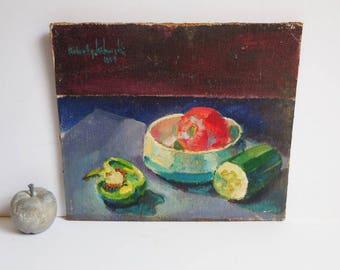 Vintage Painting original art Still life Vegetables Textured Signed 1964 bowl 12 x 14