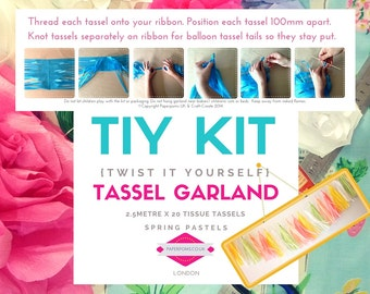 DIY Tassel Garland Kit, DIY Tassel Kit, tassel garlands, parties, shop display, photo shoot, Spring Pastels, weddings