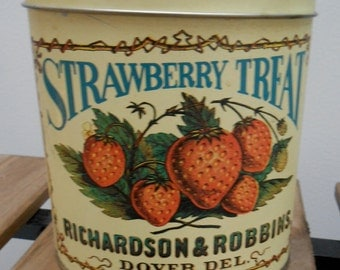 Vintage Dover Delaware Strawberry Patterned Oval Dry Good Storage Tin