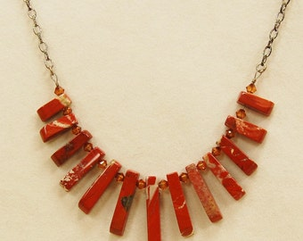 Red jasper fan necklace, Brick red statement necklace