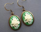 Cameo Earrings - Victorian Earrings - Flower Jewelry - Victorian Jewelry - Flower Earrings - Green Earrings - Romantic Jewelry - Spring
