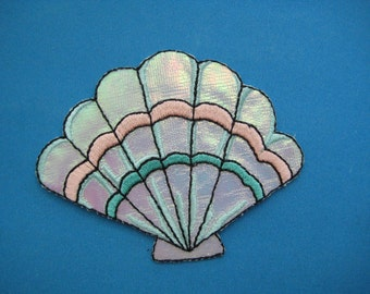 SALE~ Iron-On embroidered Patch Sea Shell 3.1 inch
