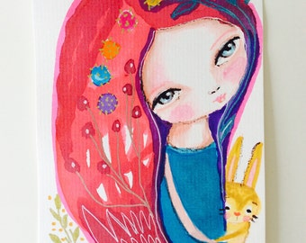 Girl and bunny - watercolor illustration, red hair girl, original painting, floral illustration, drawing, whimsical, tiny art
