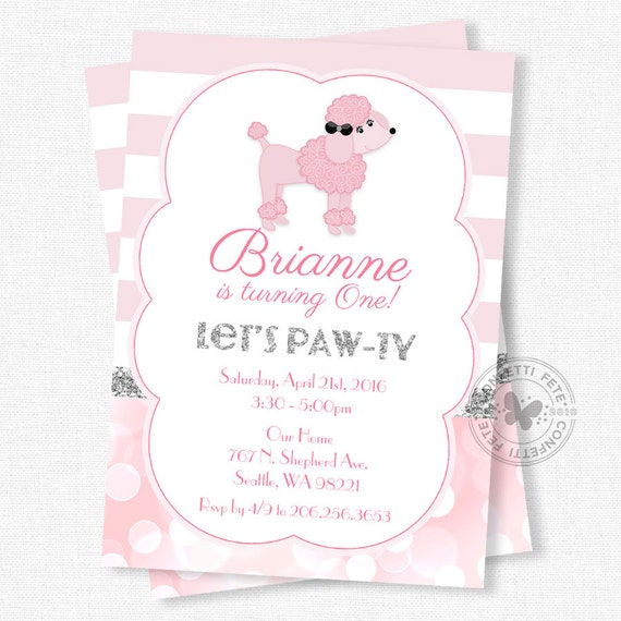 Pink Poodle Birthday Invitation Chic French Party Invitation Girl