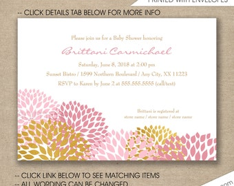 pink gold dahlias baby shower invitations free shipping pink gold bridal shower invitations