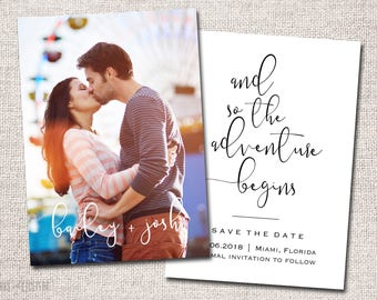 Save the Date, Photo Save the Date, Wedding, Save the date Card, Save the Dates, Modern Save the Date card: PRINTABLE (Bailey + Josh)