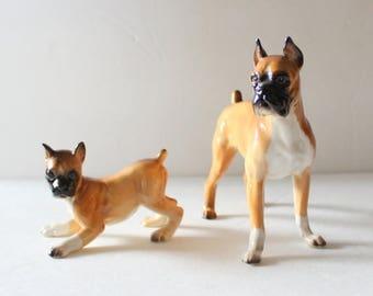 60% off sale // Vintage 60s Set of Two Shafford Blue Ribbon Ceramic Boxer Dog Figurines