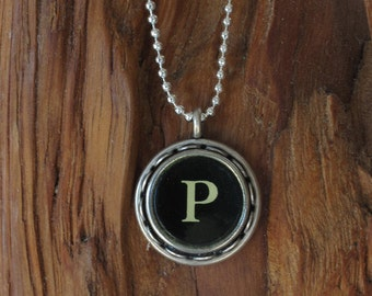The Letter P Vintage Typewriter Key Necklace Pendant