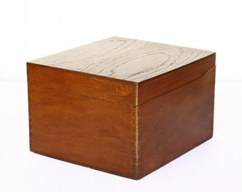 Wooden File Box with Hinged Lid