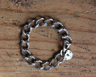 Antique 1900s sterling curb chain padlock bracelet ∙ heavy sterling padlock bracelet