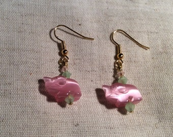 Tiny Pink Elephants  Earrings