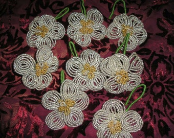 Vintage Victorian Style Glass Beaded Millinery Like Flower Christmas Tree Ornaments. Home Decor.Lot 8