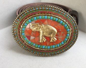 Mosaic Belt Buckle, Stained Glass Buckle, elephant Buckle, Women's Buckle, Bohemian Buckle, Camilla Klein, Leather belt, Beaded Belt, Dumbo