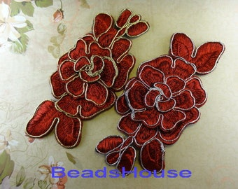 2 pcs. Embroidered (Red Color with silver / golden string)