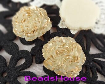 2pcs (35mm) Hight Quality Big Pony With Gold Petals,Cream