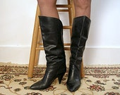 1980s Vintage High Heel Boots Soft Black Leather Calf High Pirate Pull On Boots / U.S. 8 to 8.5M