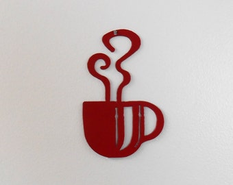 Mini Red Coffee Cup Wall Art  Metal Wall Decoration