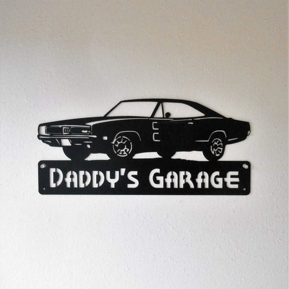 1969 Dodge Charger Personalized Man Cave Classic Garage Sign Satin Black Mopar