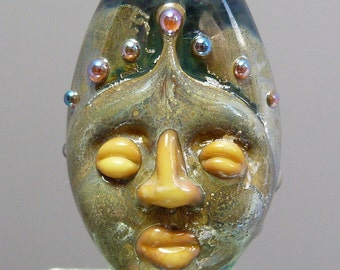 Ancients series - mask amulet face jewelled stone look focal 'The Princess'