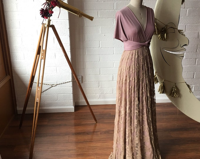 Tea and Heather Vintage Style Bespoke Octopus Infinity Wrap Dress- Wedding Gown, Bridesmaids, Maternity, Etc.