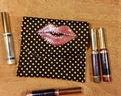 SALE LipSense, Lipstick pouch, lipstick holder, custom made, black with yellow poke a dots, holds 5-6 lipsticks, great down line gift