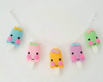 Lollipop Garland, Icecream Garland, Popsicle Garland, Crochet Lollipop Garland, Lollipop Bunting, wallhanging, IN STOCK