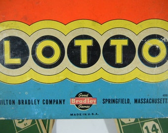 Vintage Lotto Game by Milton Bradley Good for Crafts or Playing Wooden game pieces