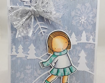 Skating Christmas - Blank NoteCard, Greetings Card, Handmade Card, Pure Innocence, PI, MFT
