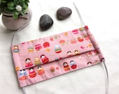 Organic Surgical Mask/ Adult Size/ Washable Cloth Surgical Mask/ Anti-Dusk Mask/ Cotton Medical Face Mask/ kawaii Russian Dolls in sweet pin