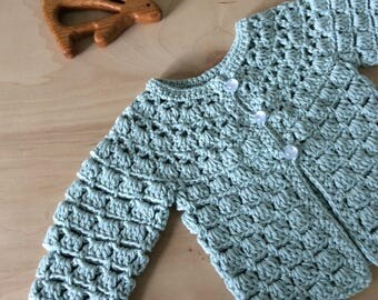 aqua knitted baby sweater, lace baby cardigan, crochet baby sweater, summer baby gift, cotton, baby girls gift by warm and woolly