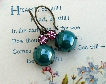 On Sale Teal Berry Bubbles, Pearly Teal Glass Bubble and Raspberry Pink Swarovski Crystal Rhinestone Jewel Earrings