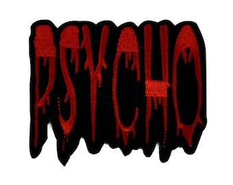 Black & Red Blood Drip Psycho Iron on Applique Patch Alternative Clothing Horror - YDS-EP444-PATCH