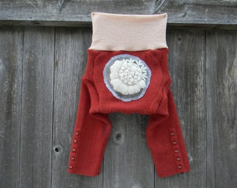 MEDIUM Upcycled Merino Wool Longies Soaker Cover Diaper Cover With Added Doubler Burnt Orange/ Peach Color With Flower Applique 6-12M